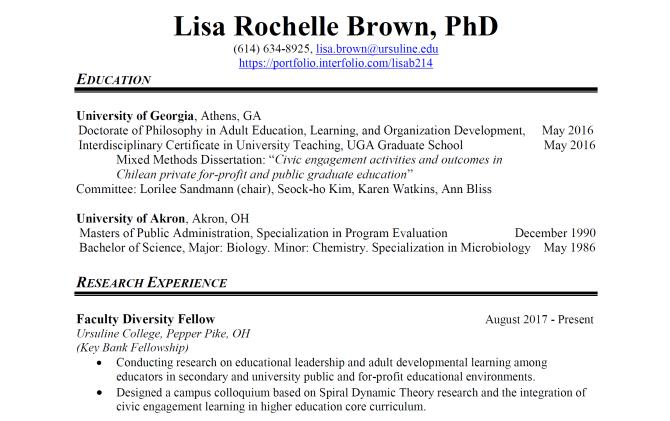 CV screenshot
