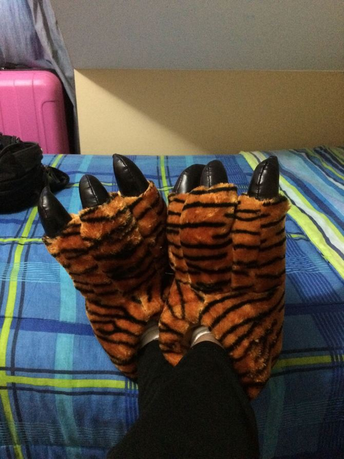 My tigress house slippers I purchased today.  Love these things!!